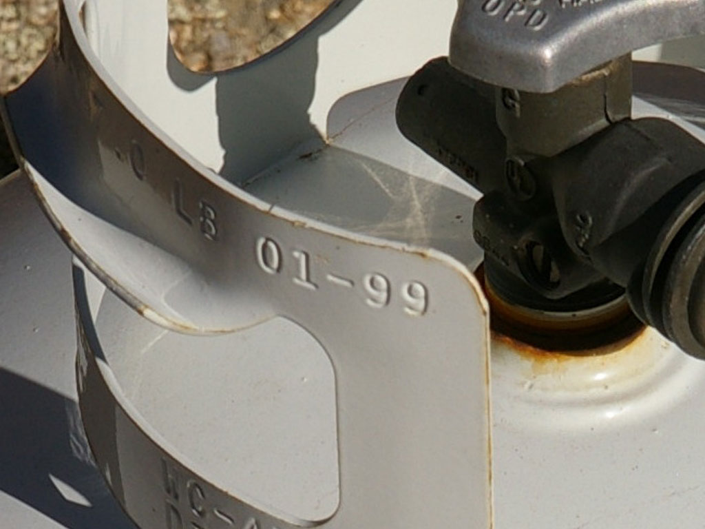 Close-up of expired propane tank