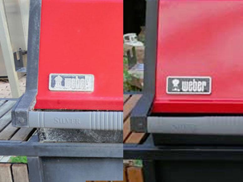 Weber emblem before and after restoration