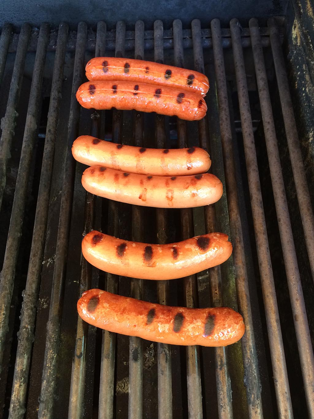 Grilling the hot dogs