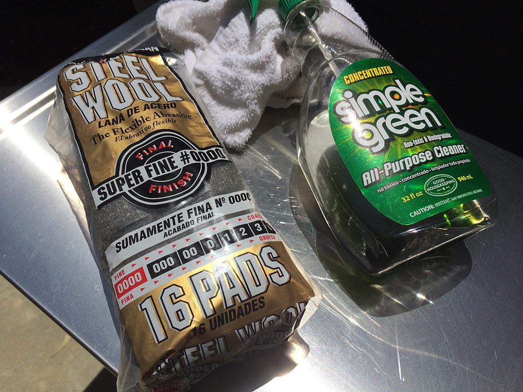 0000 steel wool and Simple Green cleaner