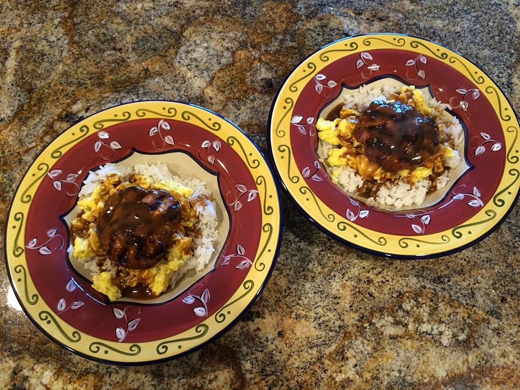 Two plates of loco moco