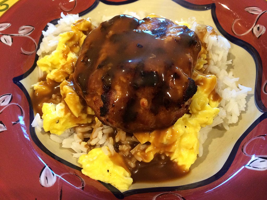 Close-up of loco moco with pork patty