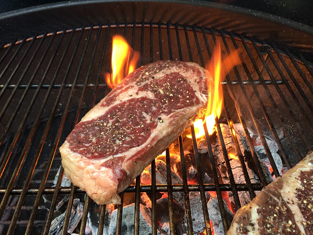 Searing the first side of the steak
