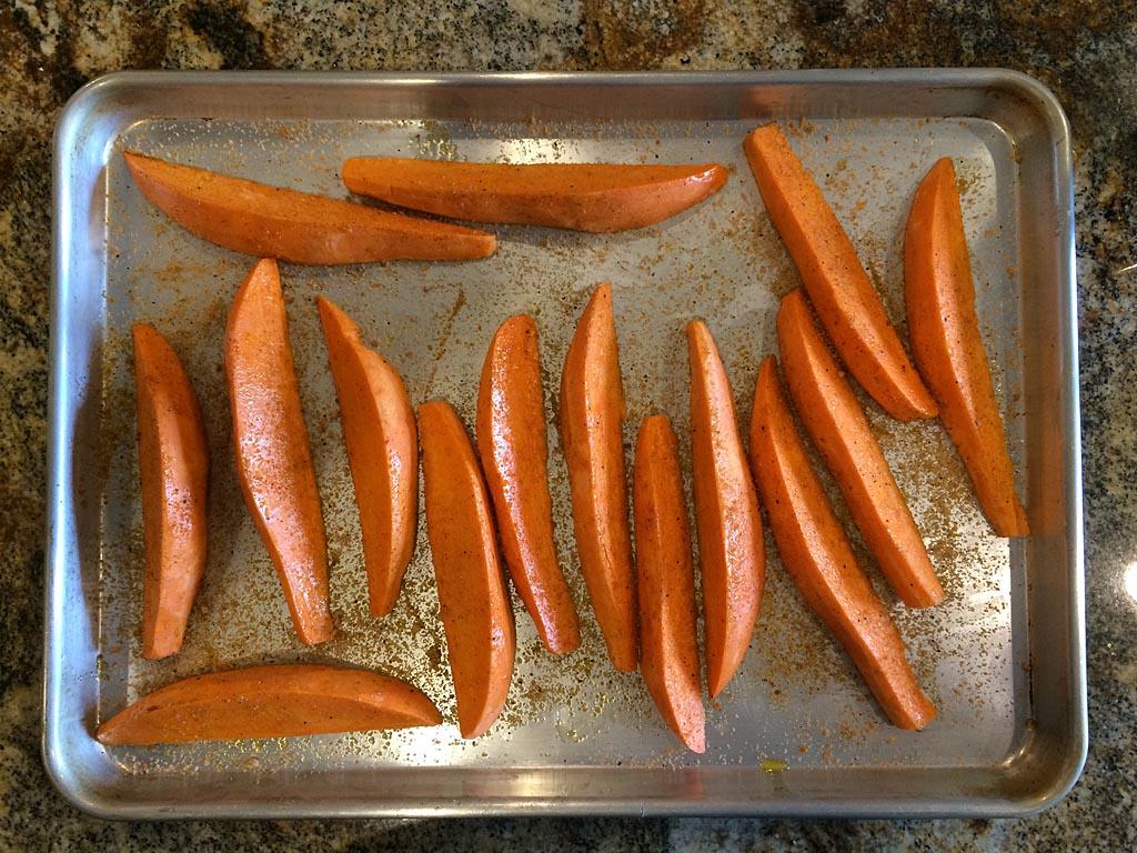 Seasoned sweet potato wedges