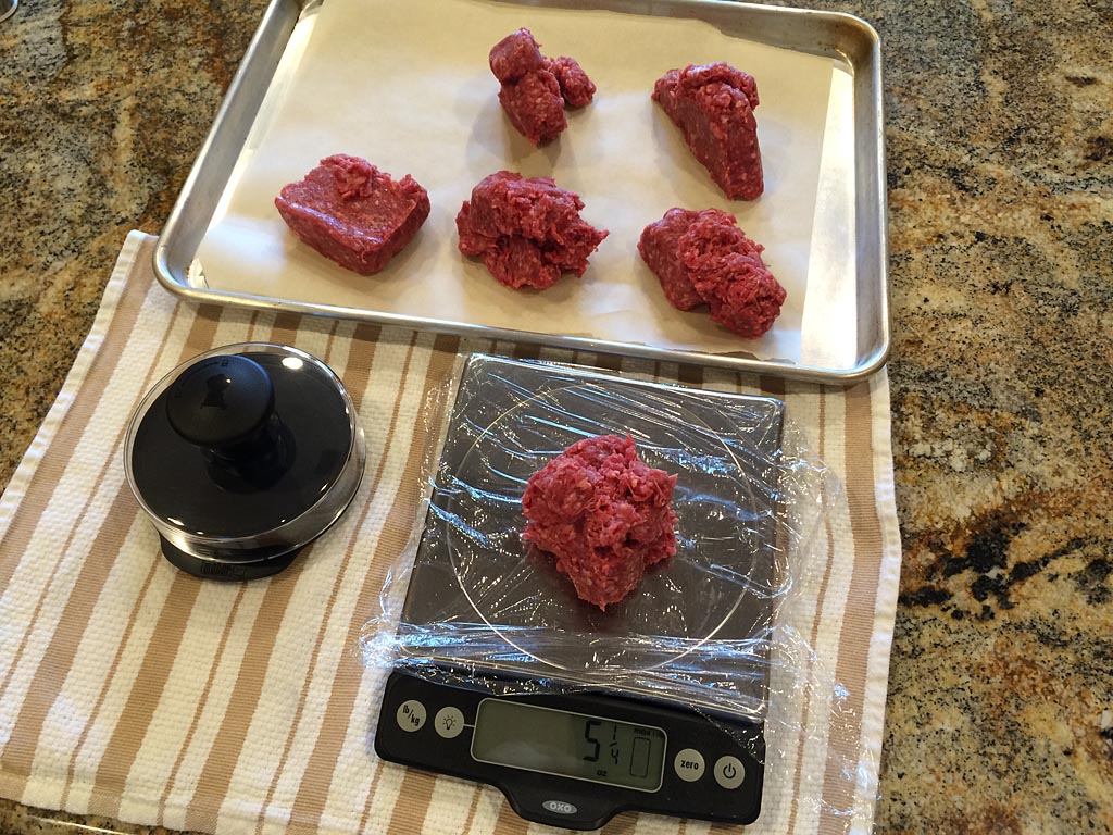 Weighing meat for patties