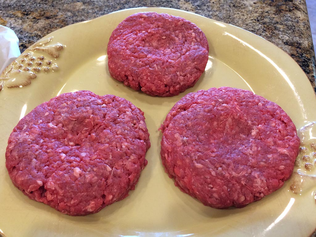 Pressed burger patties