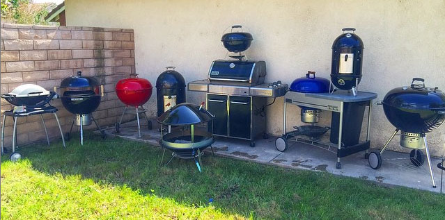 Tony and Maribel's collection of Weber grills
