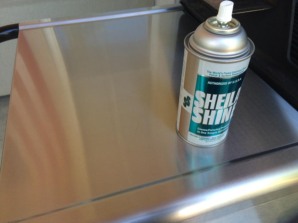 Clean stainless steel work surface