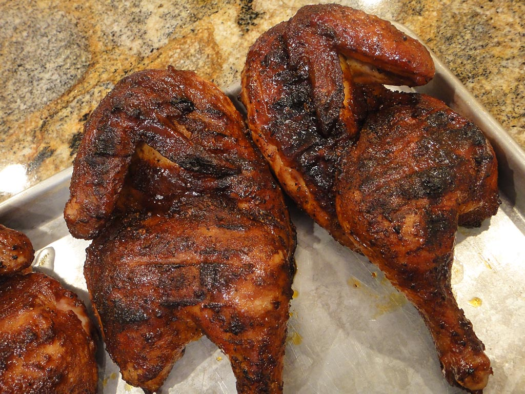 Moist grilled chicken halves