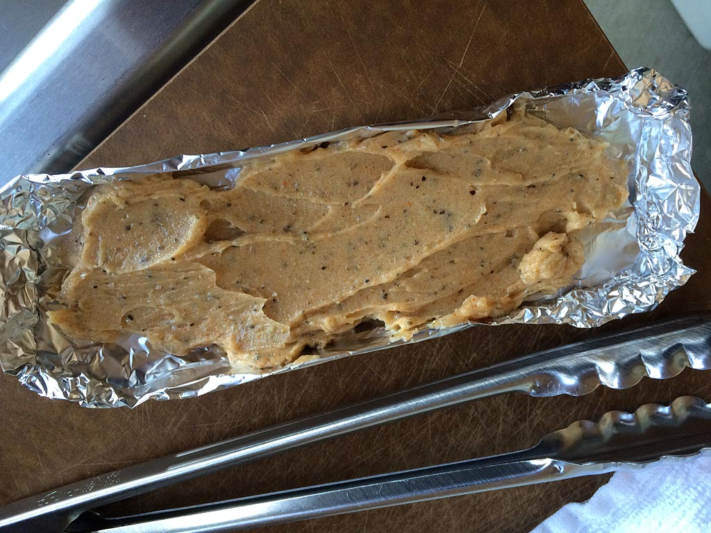 Butter mixture in foil boat