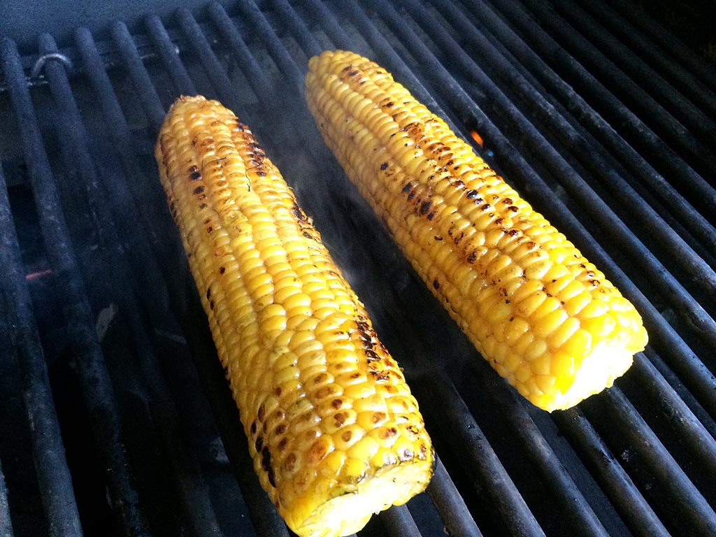 Corn ready to come off the grill