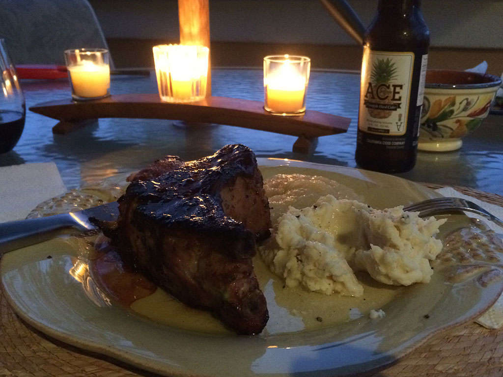 Pork chops al fresco by candlelight