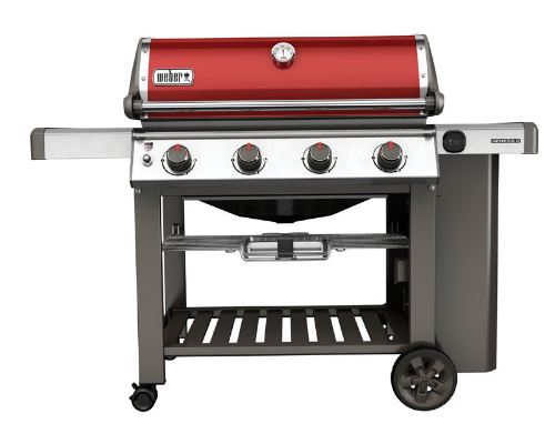 Weber Genesis II crimson 4-burner with open cabinet