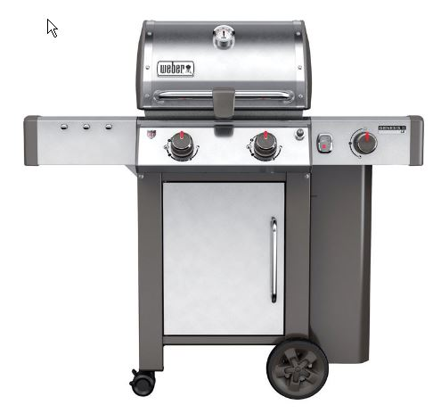 Weber Genesis II LX stainless steel 2-burner with storage cabinet, side burner, handle light and integrated tool hooks