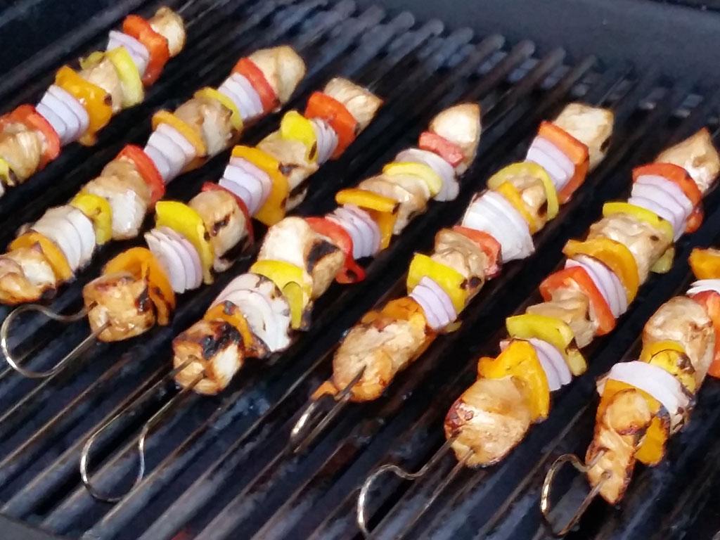 Chicken kebabs on Weber Summit gas grill