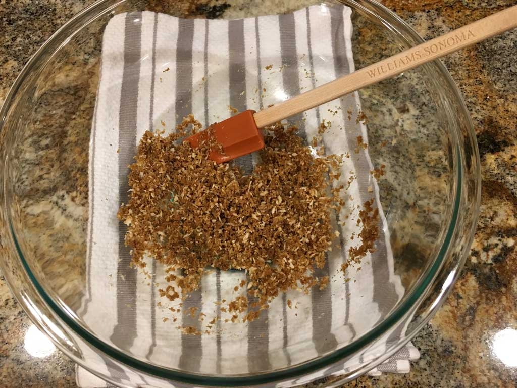 Panko bread crumbs moistened with Worcestershire sauce