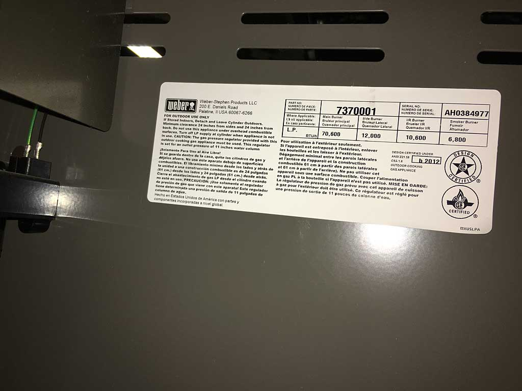 Sticker in Weber Summit S-670 gas grill