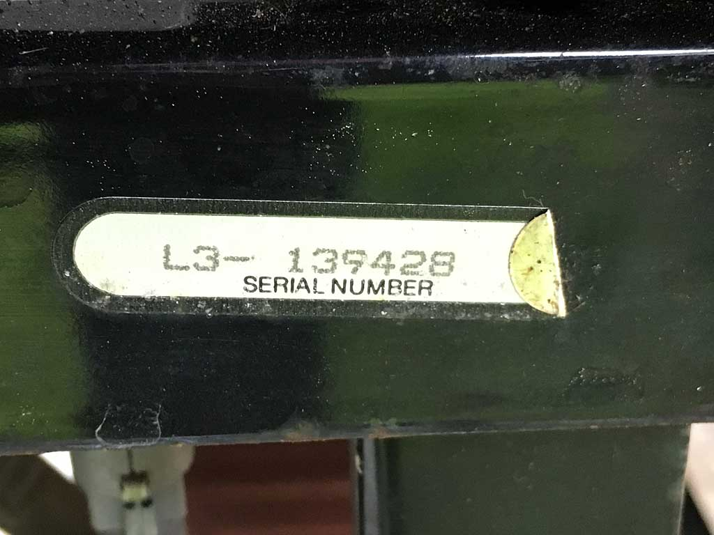 Close-up of Genesis 2 model and serial number