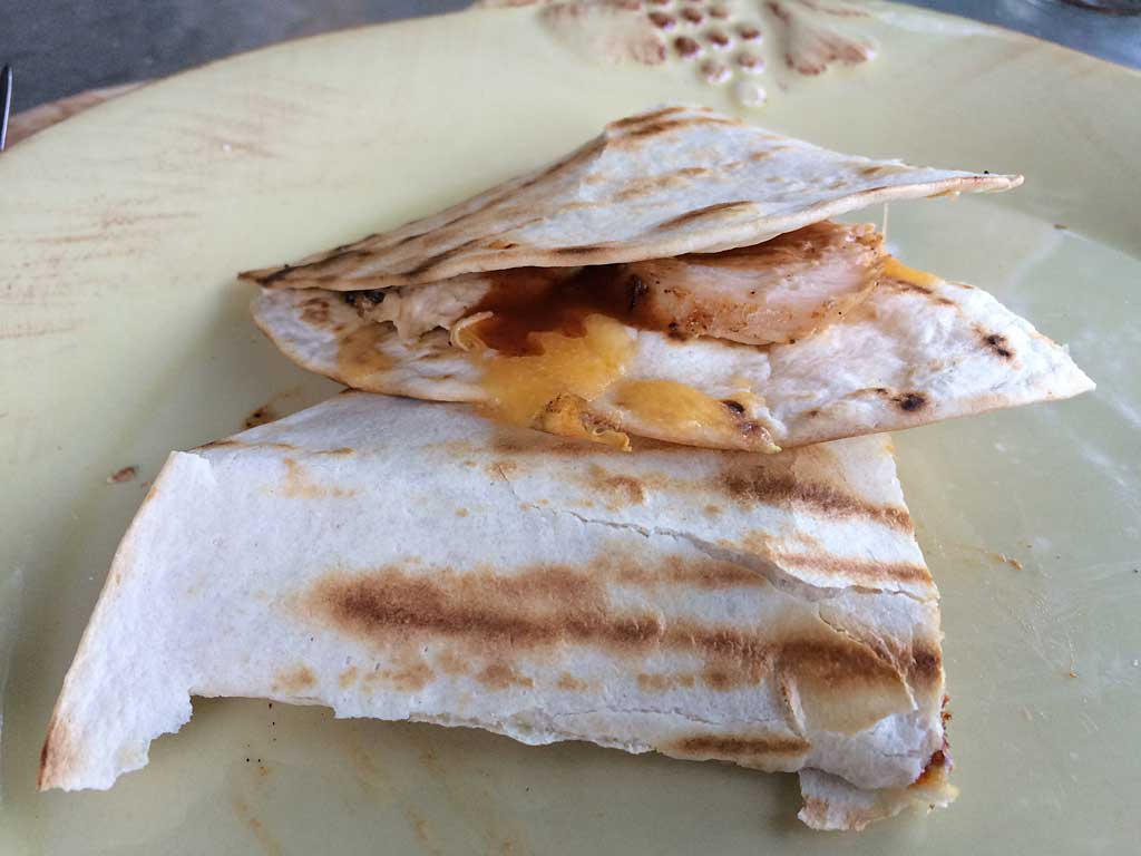 Chicken quesadillas served on a plate