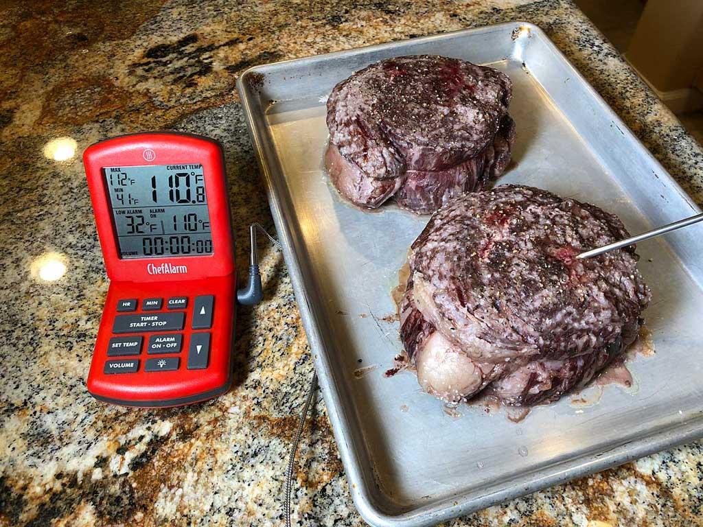 Ribeye steaks hit 110F internal temperature