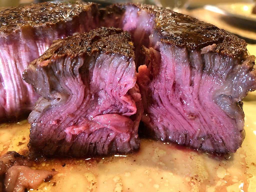 Interior view of ribeye cap steak