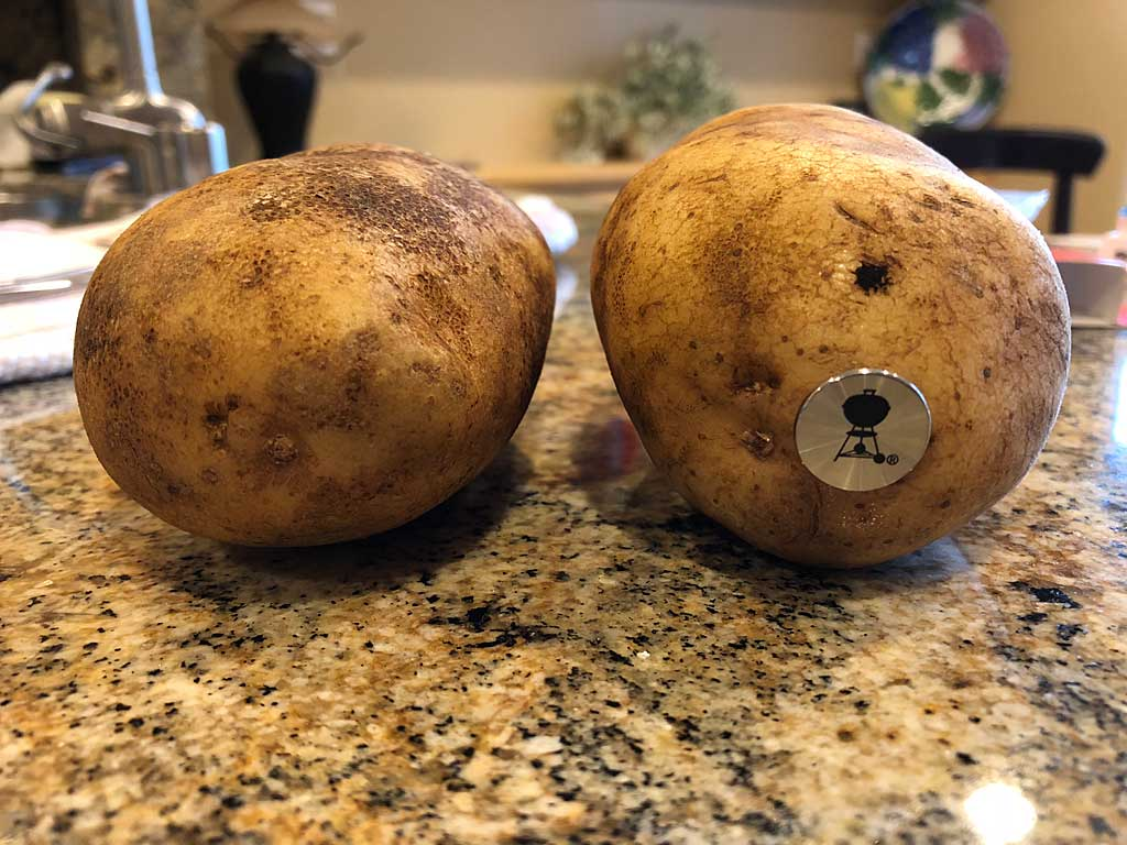 Potato without and with potato nail