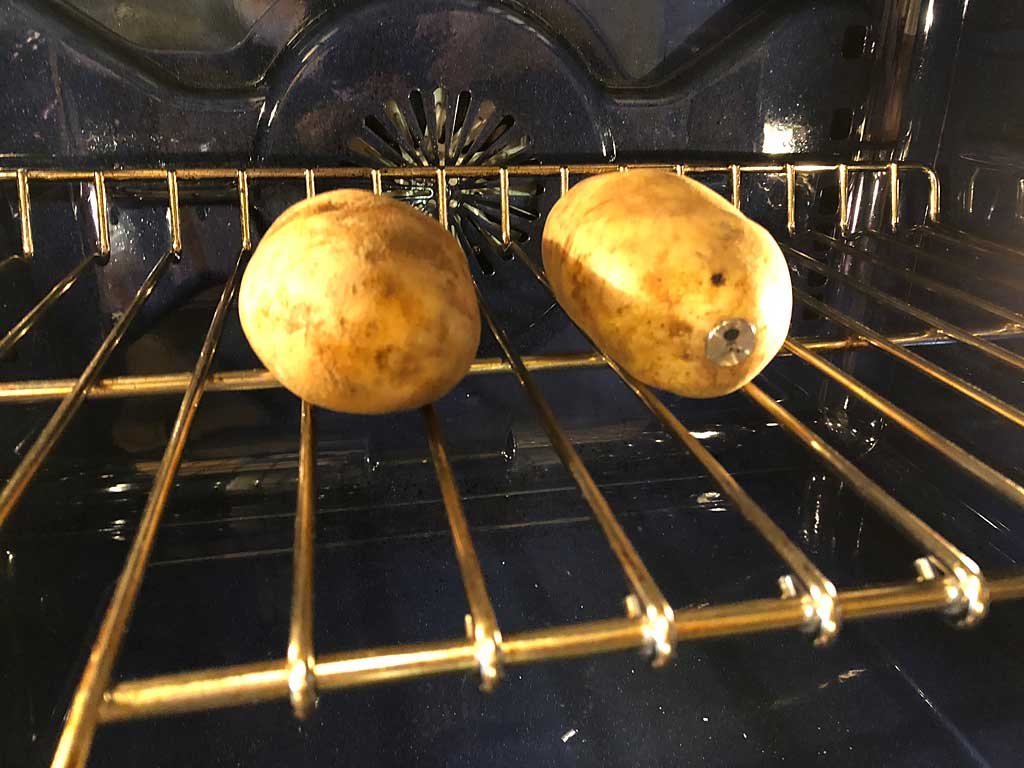 Potatoes in the oven at 400F