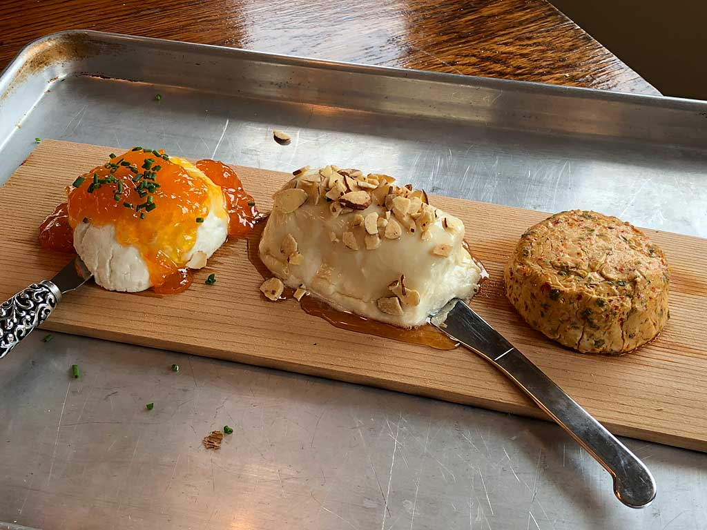 Cedar-planked goat cheese appetizer three ways