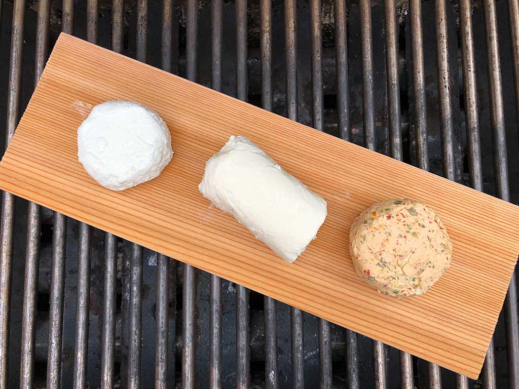 Three types of goat cheese go into the Weber Genesis 2 gas grill