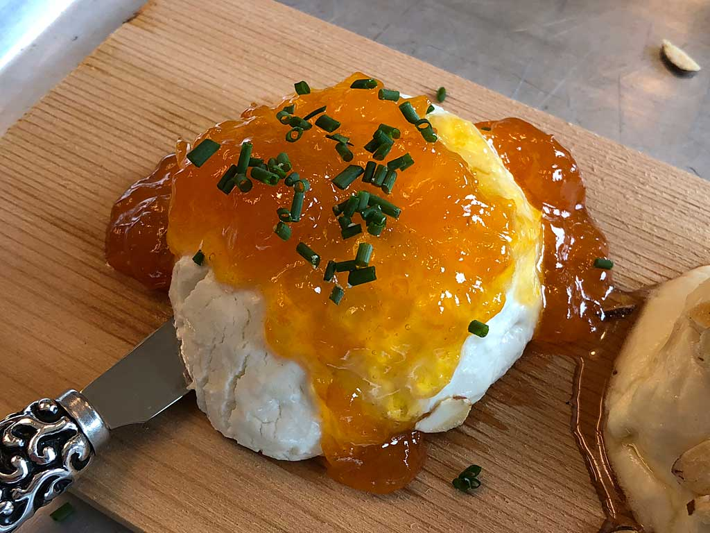 Laura Chanel's Original Goat Cheese with apricot preserves and chives