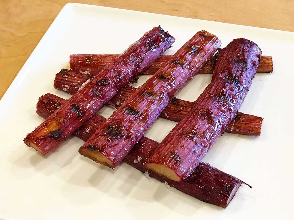 Grilled rhubarb ready to enjoy