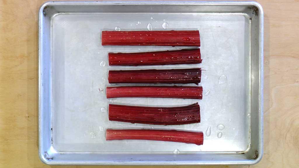 Damp rhubarb pieces