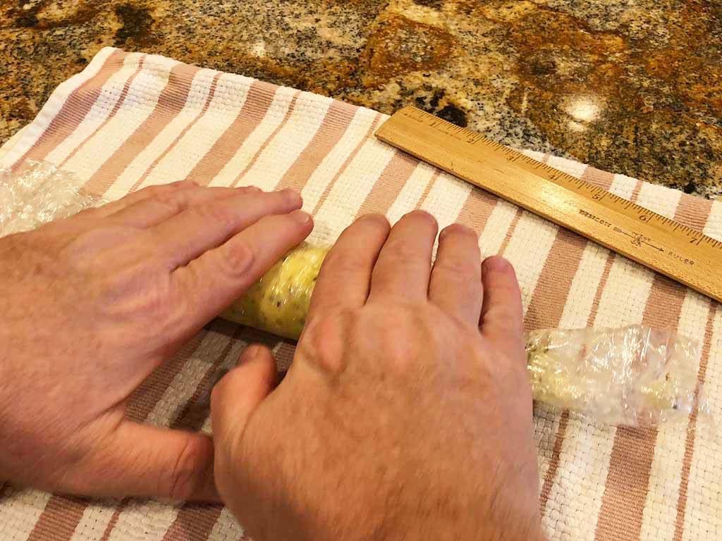 Rolling compound butter into a log shape