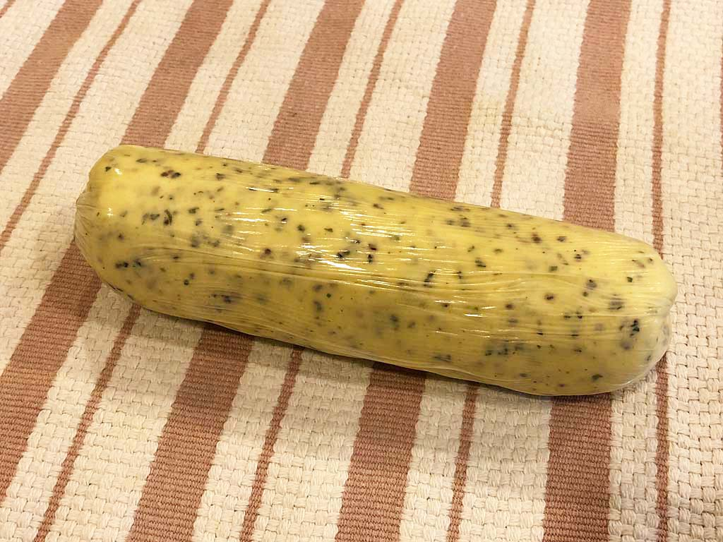 Returning compound butter log to refrigerator