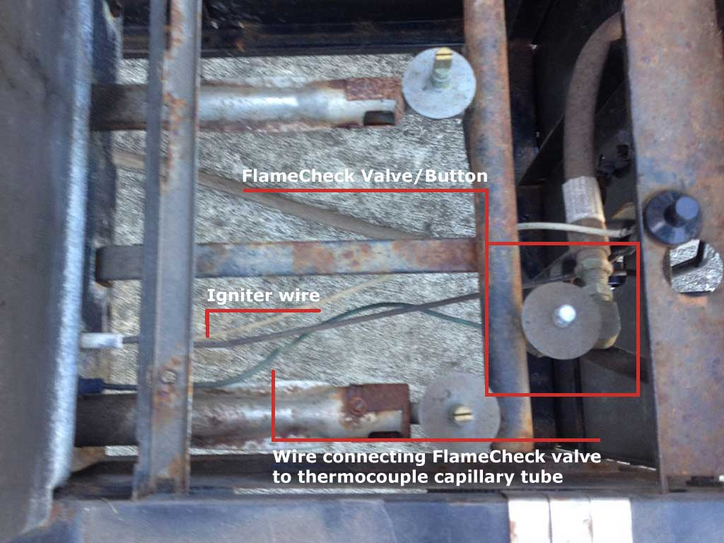 Location of FlameCheck valve/button and wiring