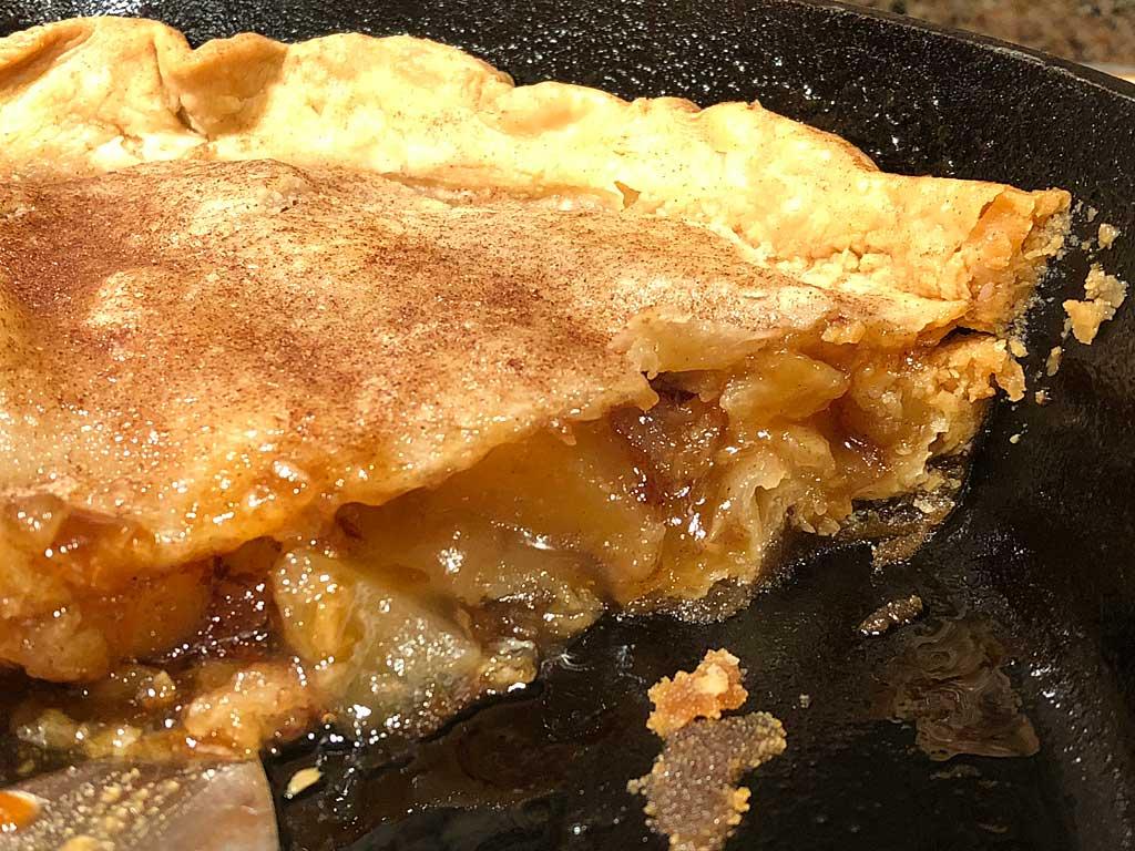 Interior view of skillet apple pie