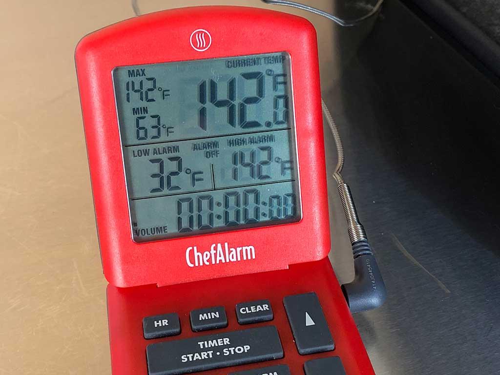 Meat reaching 142F internal temp
