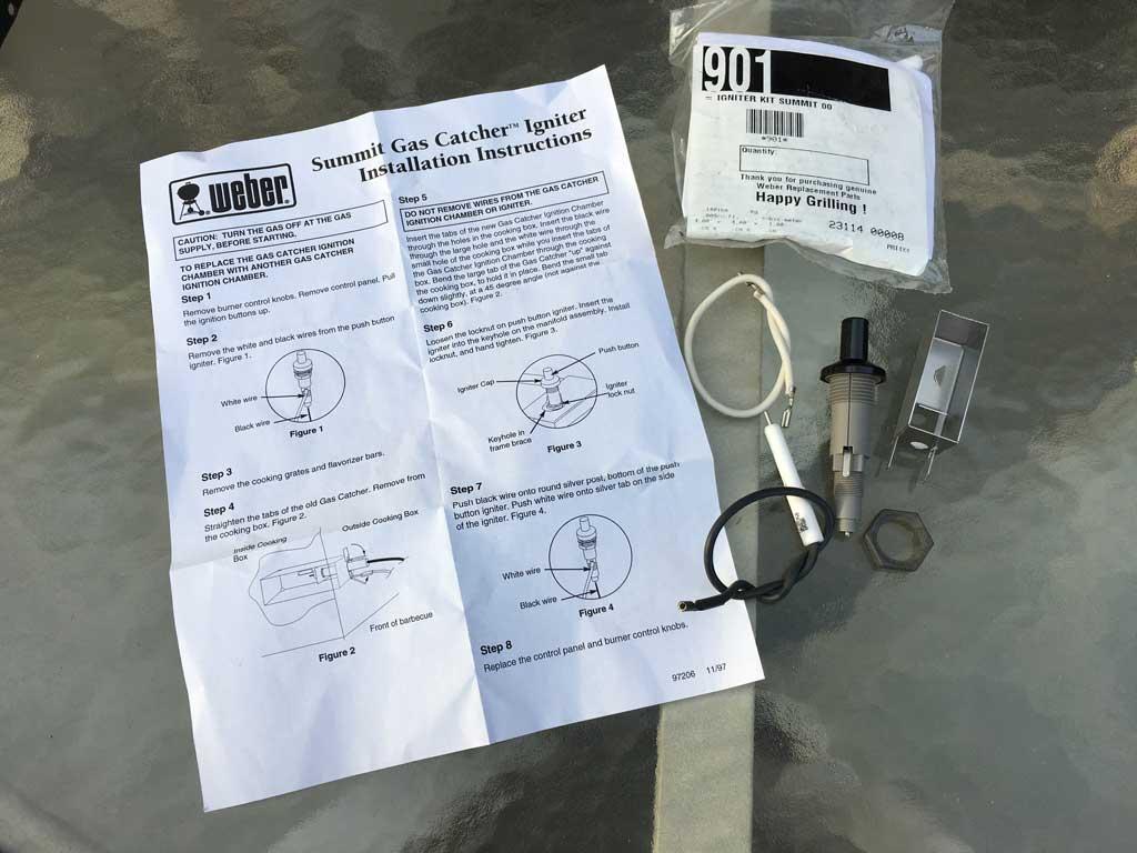 Igniter kit with instruction sheet