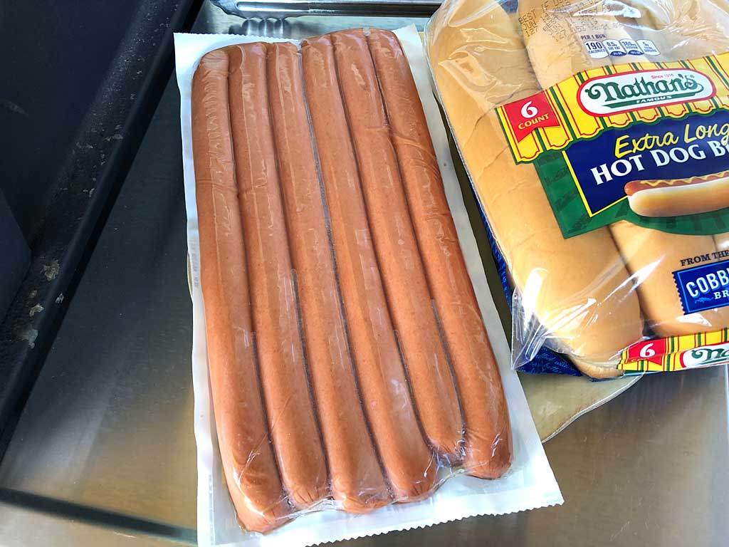View of the beef franks in the packaging