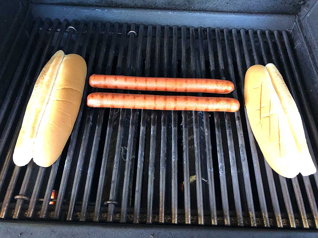 Nathan's Foot Longs on the grill