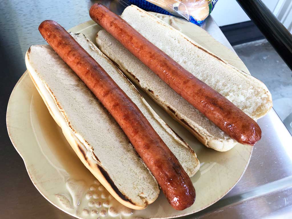 Two Nathan's Jumbo Foot Long Beef Franks in buns