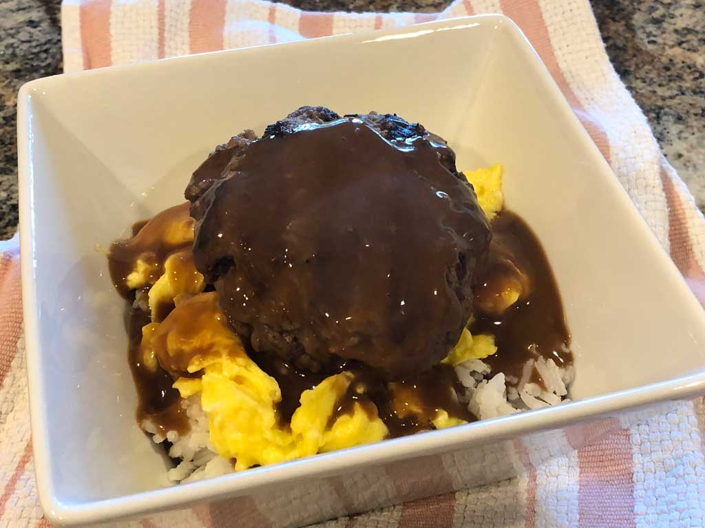 Leftover Beef Vs. Bacon burger in Loco Moco