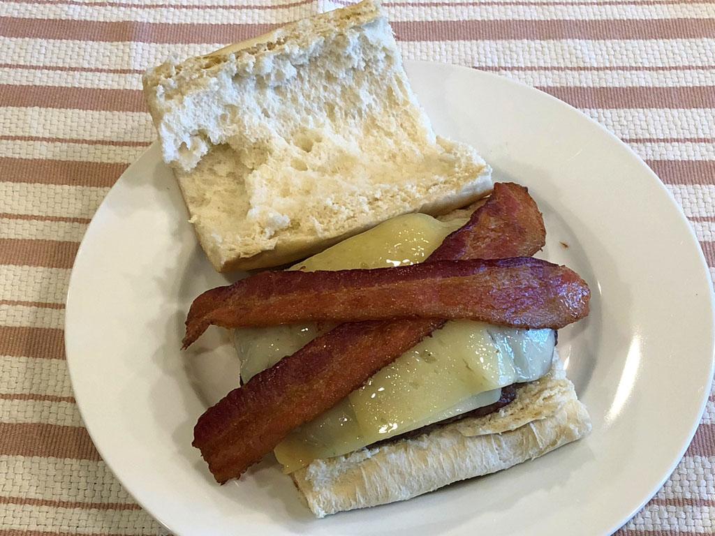 Finished hamburger sandwich