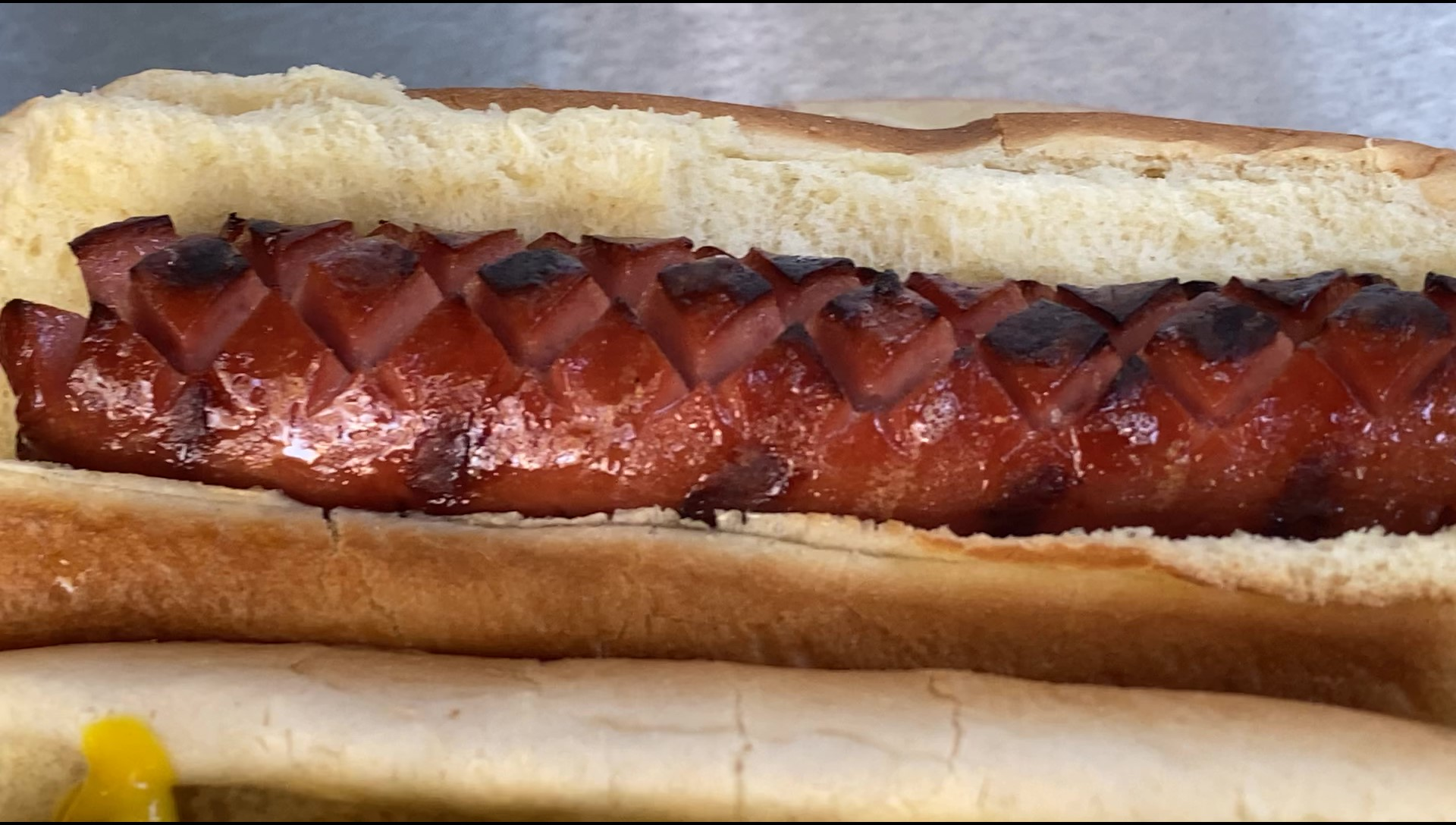 A grilled SLOTDOG hot dog