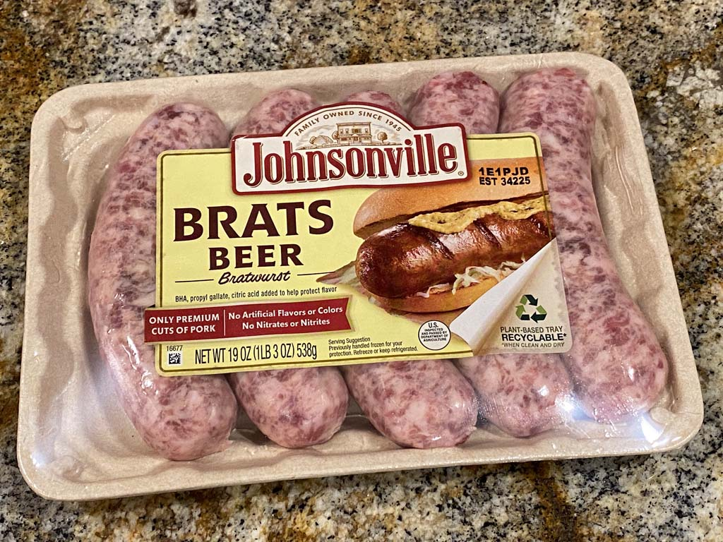 Johnsonville Beer Brats in packaging