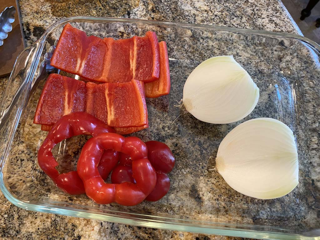 Prepped peppers and onion