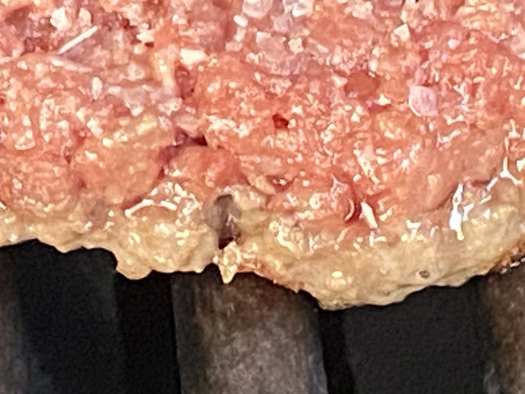 Close-up of cooked edge of Impossible Burger