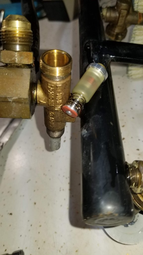 Valve cartridge removed from valve body