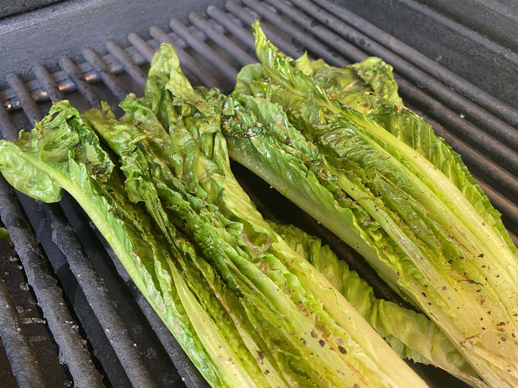 Romaine lettuce turned to second side